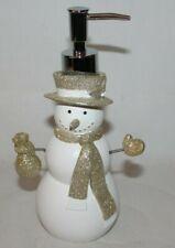 Envogue Christmas Snowman Lotion Pump White/Gold Glitter Decoration New