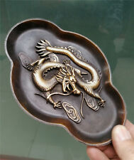 Collectables! Dynasty Old Chinese dragon tray Bronze mirror salver Statue