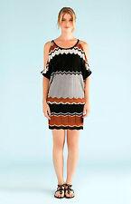 Hale Bob Chevron Knit Summer Tunic Dress w Cold Shoulder XS NWT 2DSM6986 *