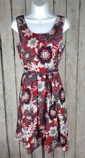 Talbots~sz 8~Sleeveless Floral Tropical Fit Flare Dress Red