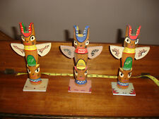 Vintage set of 3  HAND CARVED WOOD TOTEM POLES  10.5 inches tall Totem Pole