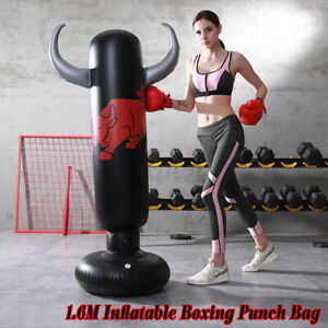 1.6m Adult Inflate Boxing Punch Bag Free Standing Kid KickTraining Black   ✮