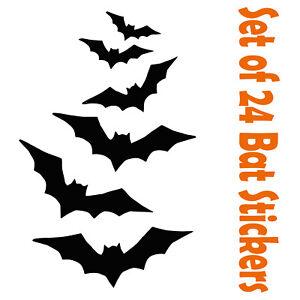 24 Halloween Bat Black Vinyl Stickers Window Decorations Spooky Party Kids