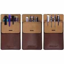Wisdompro Pocket Protector 3 Pack Pu Leather Heavy Duty Pen Holder Pouch For Sh