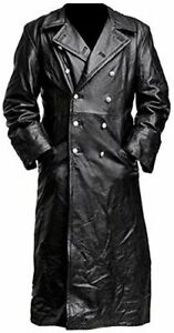German Classic Officer Leather Black Trench Coat