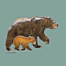 Bamboo Jewelry BEAR & CUB Cloisonne PIN Enamel STERLING Silver + Gift Boxed