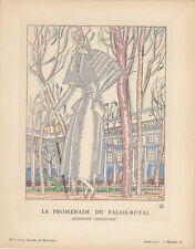 Promenade du Palais-Royal Pochoir Gazette de Bon Ton 1921 Mode ART DECO Mourgue