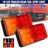 2pcs 10 LED Rear Stop Indicator Tail Brake Light Trailer Truck Lorry Caravan Van
