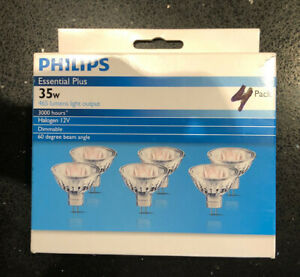 Philips ESSENTIAL PLUS DICHROIC HALOGEN GLOBES 4 Pcs 35W GU5.3 60Deg Beam Angle
