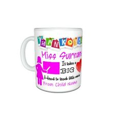 Personalised Thank You Teacher Miss, Mrs, Themed Mug Gift, Size 11oz