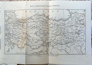 Clipping-Ritaglio RETE FERROVIARIA DELLA TURCHIA  originale ANNI '40 cm.24x35