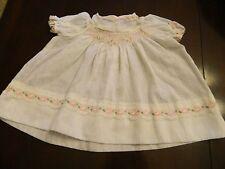Vintage Polly Flinders White Collar Pink Hand Smocked Baby Girl Infant Dress