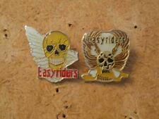 "PAIR Hat / Lapel Pins - ""Easyriders"" Skull & Wings / Skull & 1 Wing - EXC Cond"