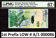 Bermuda $20 Hybrid 2009 1st Prefix LOW # A/1 000086 Pick-60a GEM UNC PMG 67 EPQ