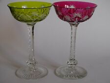 2 ANCIENNES COUPES A CHAMPAGNE CRISTAL ST LOUIS MODELE COSMOS DOUBLE COLORE