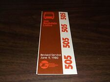 JUNE 1980 CHICAGO RTA ROUTE 505 ROCHDALE LIDICE BUS SCHEDULE
