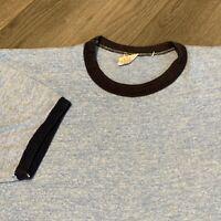 Blank Vintage Ringer T Shirt Adult Medium Blue Heather 80s Russell Athletic USA