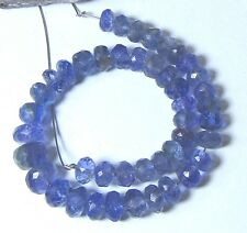 """AAA RARE BLUE TANZANITE FACETED RONDELLE BEADS 50cts 6.5"""" STRAND 5-7mm"""