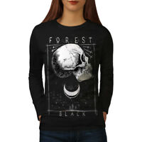 Wellcoda Forest Skull Black Womens Long Sleeve T-shirt, Moon Casual Design