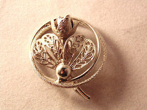 Vintage Silver Flower Brooch Lapel Pin 50s 60s Mid-Century Jewelry Floral Ring