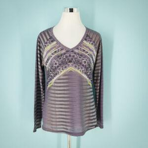 Prana Size Medium M Top Long Sleeve V Neck Printed Purple Green Active Outdoor