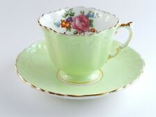 Aynsley Green and Floral Tea Cup & Saucer England