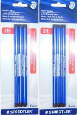 2 packs - STAEDTLER - Mars Carbon 2H 2mm Drawing Leads - 6 pieces in each pack