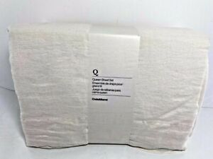 Crate & Barrel 100% Hemp Queen Sheet Set Warm White Natural Light Beige NWT
