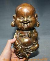 "9 ""Vieux Chine Bouddhisme Bronze Siège Heureux Rire Maitreya Bouddha Statue"