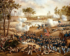 US American Civil War Art Battle Of Cold Harbor Painting Real Canvas Print