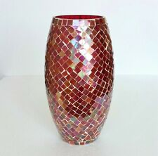 """Vintage Vase Large & Tall Mosaic Iridescent Tiles Red Glass Decorative 11"""" H"""