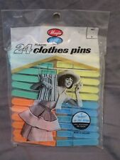 New Vintage 1970s Magla 24 Plastic Clothes Pins Green Blue Yellow Orange in Bag