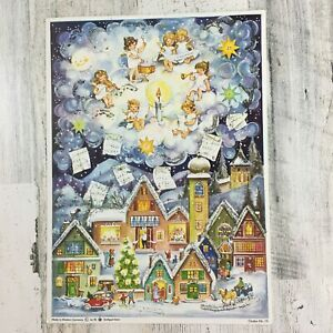 Vtg West Germany Stuttgart-Rohr Advent Calendar Christmas Town Angels Glitter