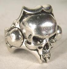 SKULL HEAD BIKER RING mens jewelry BR258 silver rings SKELETON BIKER NEW SKULLS