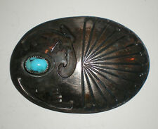 Old Vtg Large Metal Silver Belt Buckle w/ Turquoise Stone Inlay Southwest Design