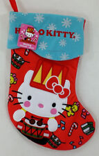 """Hello Kitty Cloth Red Drummer Snowflake Holiday 15"""" Christmas Stocking NEW"""
