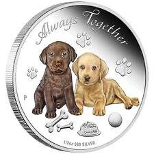 2016 Always Together Dogs Puppies 1/2oz Silver Proof Coin PERTH MINT