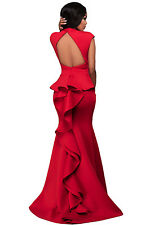 Red High Neck Ruffle Back Long Dress Club Wear Fashion Evening Wear Size S M L