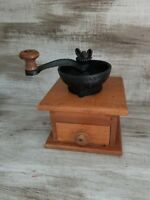 Vintage Antique Coffee Bean Mill Grinder - Cast Iron Top w/Wood Drawer Bottom