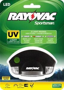 Rayovac Sportsman 3 Mode LED UV Hat Clip Light Night Vision Blood UrineTracking
