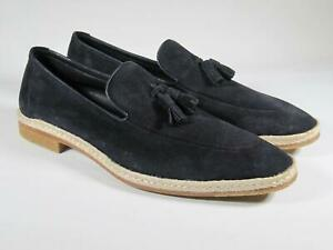 A. Testoni Men Navy suede Loafers Slip On Shoes 10.5 US / 43.5 EU NEW