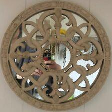 Ivory Celtic Knot Mirror Garden Wall Hanging Round Ornate Fancy Boho Farmhouse