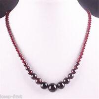 """4-12mm Natural Wine Red Garnet Round Beads Gemstone Necklace 1 Strand 18"""""""