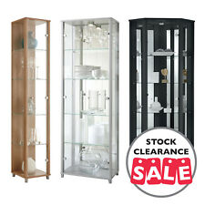 Ex-Display HOME Tall Glass Display Cabinet Double Corner Beech Black Oak Silver