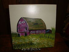 Hand Painted Tile Country Red Barn Fence