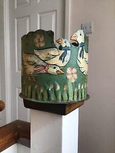 Antique vintage Metal planter plant flower pot