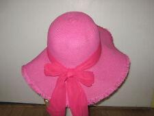 Ladies Hot Pink Frayed Edge Wide Brim Toyo Straw Floppy Sun Hat w/ Scarf Band