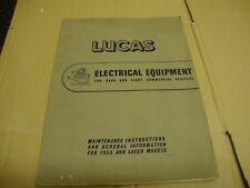 Instalación y mantenimiento de equipos eléctricos Lucas información general 1955