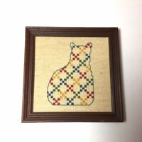 Vintage Framed Cross Stitch Wall Decor Cat Yellow Red Green Blue Nautral Hanging
