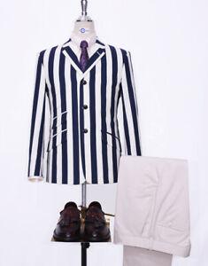 Mod Retro Indie 60s Navy Blue Stripe Boating Blazer Jacket For Men